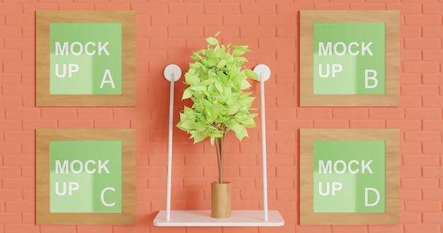 Makieta wielu kwadratowych ramek drewnianych na ścianie z rośliną