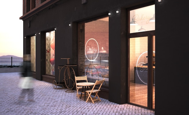 Makieta witryny sklepowej piekarni renderowania 3d