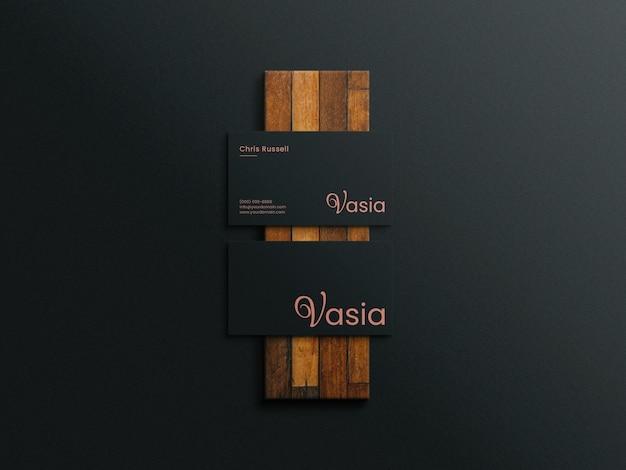Makieta wizytówki na drewnie