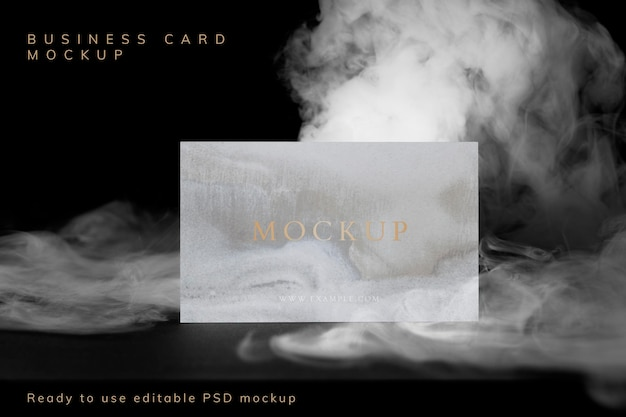 Makieta wizytówki psd, abstrakcyjny dym z przestrzenią projektową