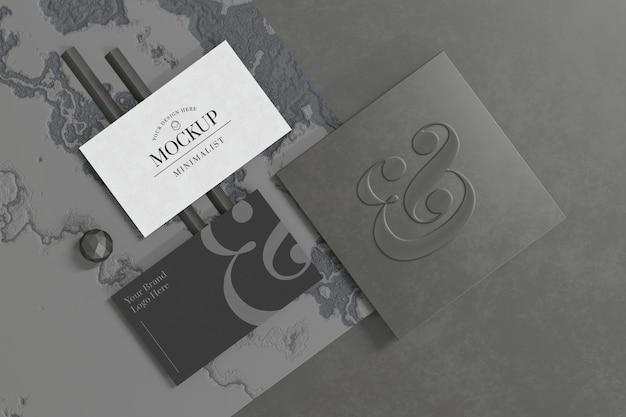Makieta wizytówki z wizytówką marki w renderowaniu 3d