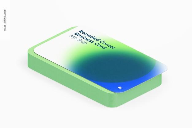 Makieta wizytówki z zaokrąglonym rogiem, widok izometryczny z prawej strony