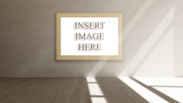 Makieta wnętrz 3d z pustą ramką do zdjęć