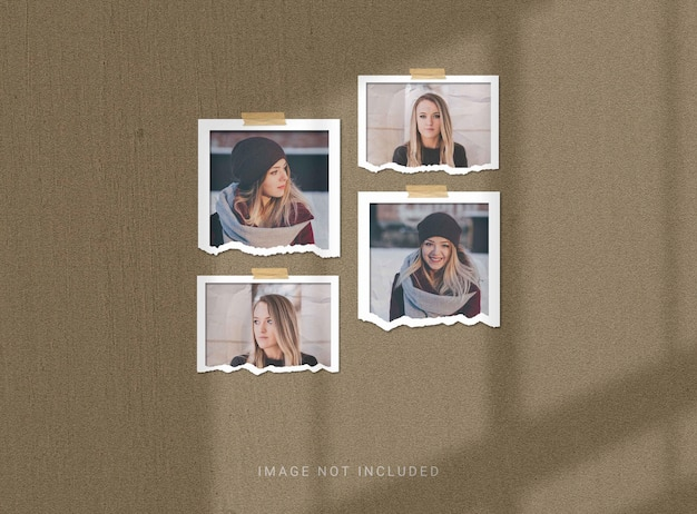 Makieta wyciętej lub podartej ramki na zdjęcia