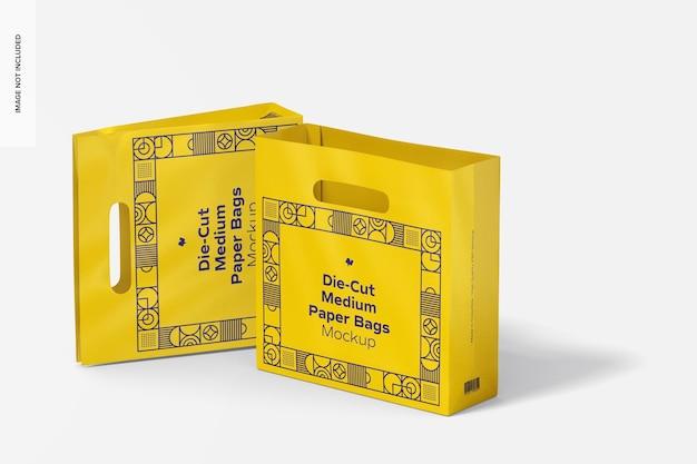 Makieta wycinanych średnich toreb papierowych, stojących i upuszczanych