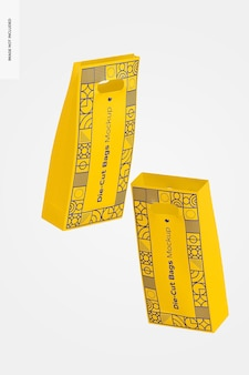 Makieta wycinanych wysokich toreb papierowych, pływająca