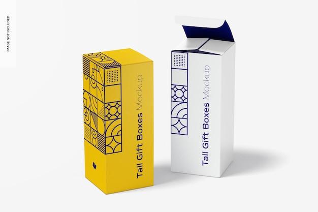 Makieta wysokich pudełek prezentowych, otwierana i zamykana