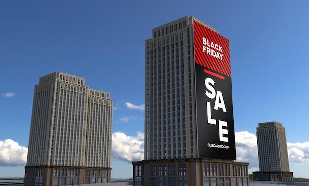 Makieta wysokiego znaku billboardu na budynku z banerem sprzedaży w czarny piątek