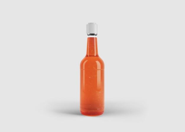 Makieta wysokiej stylowej butelki z sokiem lub sosem z niestandardową etykietą w czystej scenie studyjnej