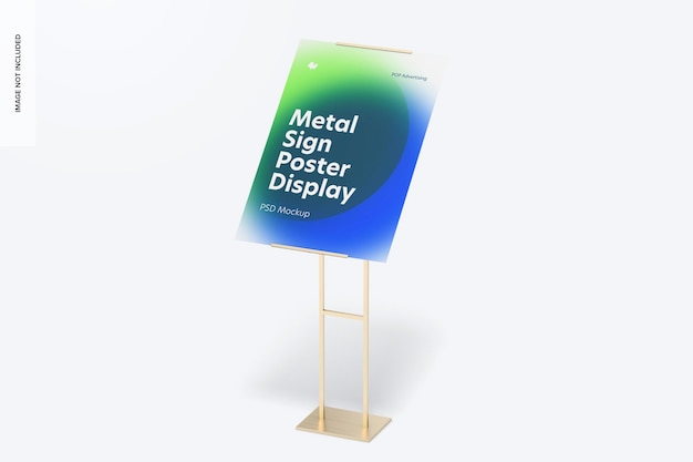 Makieta wyświetlacza podłogowego z metalowymi tabliczkami