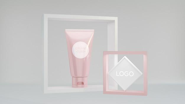 Makieta wyświetlania kosmetycznego renderowania 3d