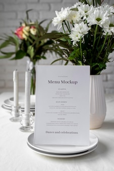 Makieta wyświetlania menu tabeli