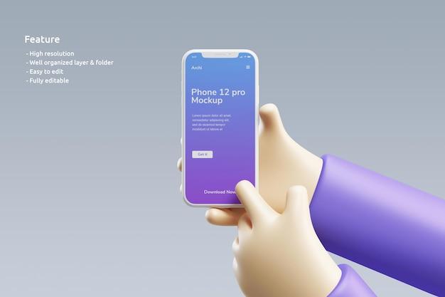 Makieta z gliny smartfona z uroczą dłonią 3d trzymającą ją