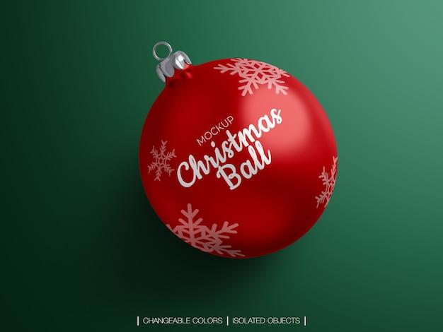 Makieta z góry wiew christmas ball ozdoba na białym tle