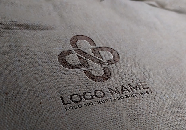 Makieta z logo z białej tkaniny