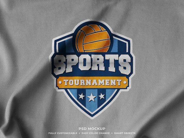 Makieta z nadrukowanym sportowym logo na dżersejowej tkaninie