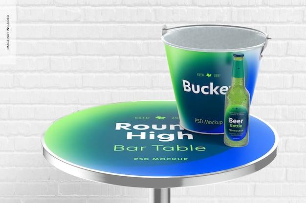 Makieta z okrągłym wysokim stołem barowym, perspektywa