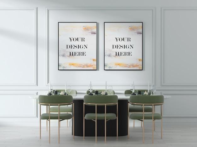 Makieta z podwójną ścianą w jasnym, nowoczesnym wnętrzu z zielonymi krzesłami akcentującymi