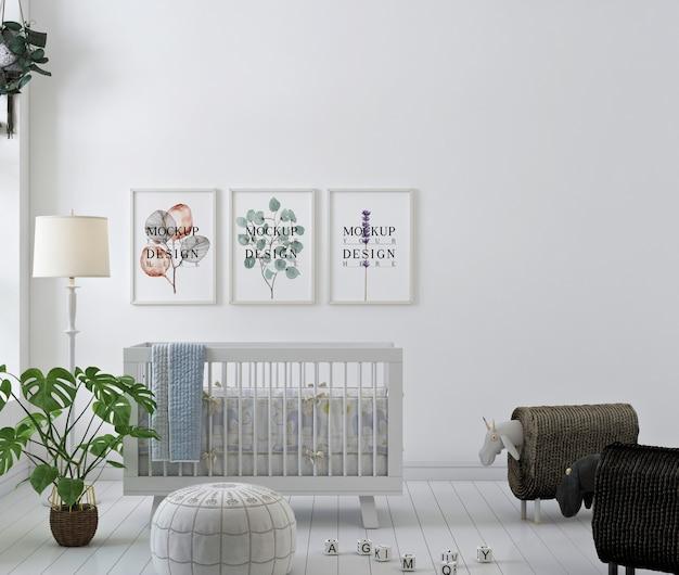 Makieta z ramą plakatową w prostym pokoju dziecięcym