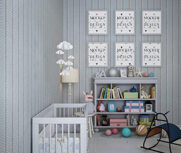 Makieta z ramą plakatową we wnętrzu pokoju dziecinnego