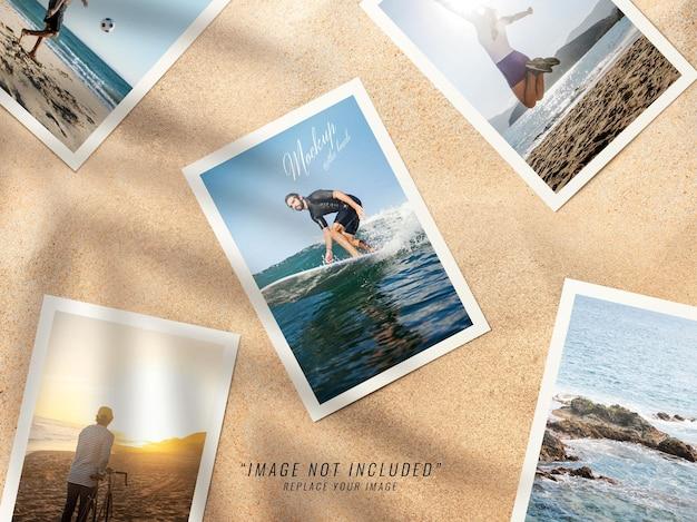 Makieta zdjęć kolażu na plaży