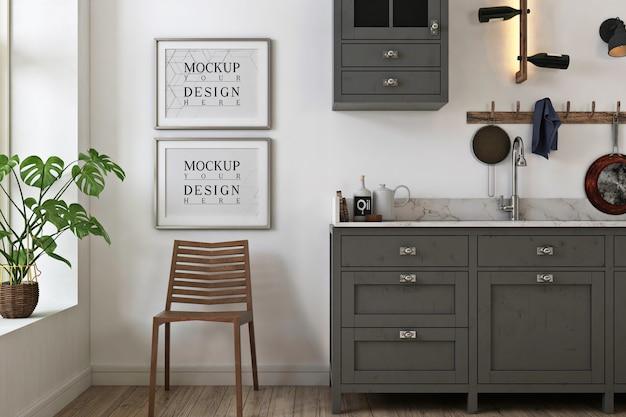 Makieta zdjęć ramki w szarej minimalistycznej kuchni