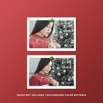 Makieta zdjęć w podwójnej poziomej ramce z papieru
