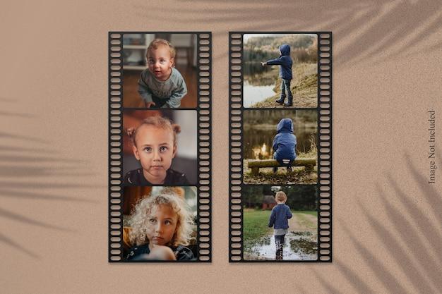 Makieta zdjęcia taśmy filmowej z nakładką cienia