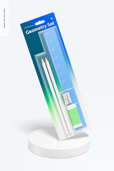 Makieta zestawów linijki geometrycznej i ołówków,