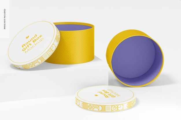 Makieta zestawu okrągłych pudełek na prezent