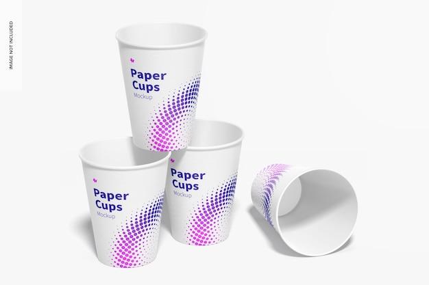 Makieta zestawu papierowych kubków