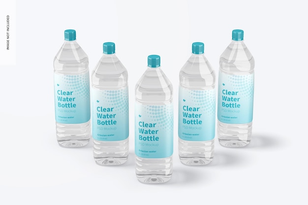 Makieta zestawu przezroczystej butelki na wodę 1l