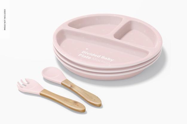 Makieta zestawu silikonowych talerzy dla niemowląt, ułożonych w stos