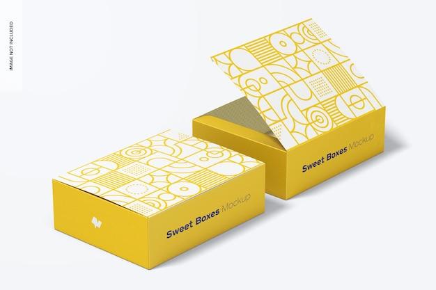 Makieta zestawu słodkich pudełek