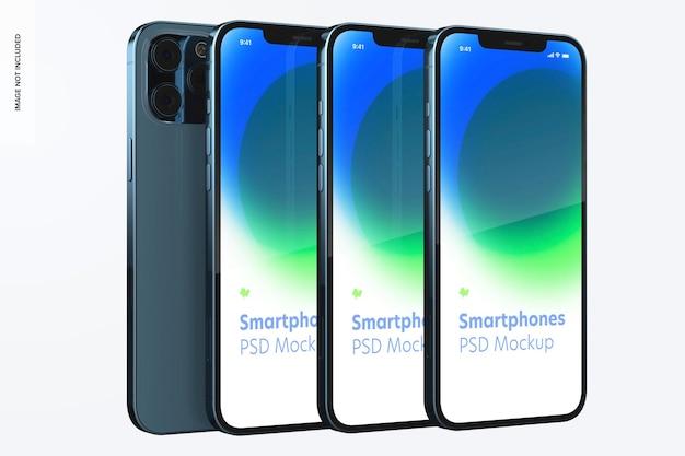 Makieta zestawu smartfonów, widok z lewej strony