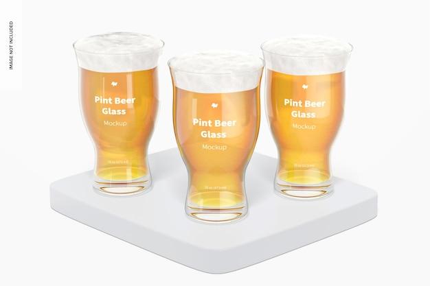 Makieta zestawu szklanek piwa o pojemności 16 uncji