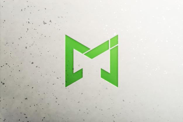 Makieta zielonego logo na ścianie
