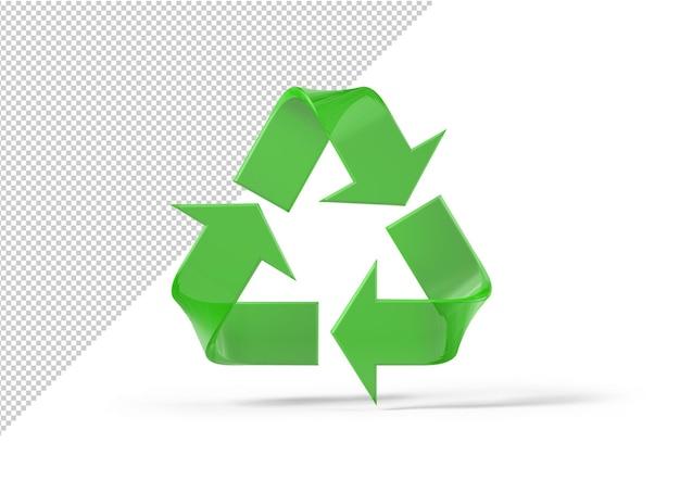 Makieta zielonego znaku recyklingu