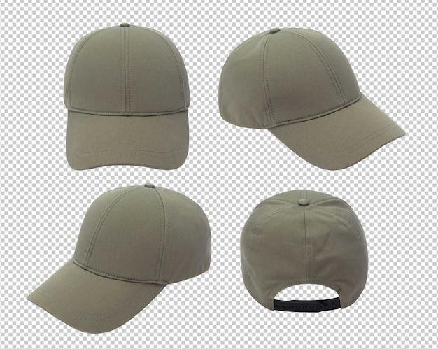 Makieta zielonej czapki z daszkiem na białym tle