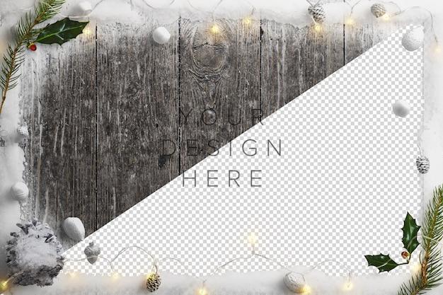 Makieta zimna zimowa scena natury ze śniegiem, lampkami, ostrokrzewem i szyszkami