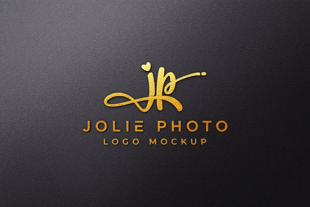 Makieta złote logo 3d na czarnym płótnie