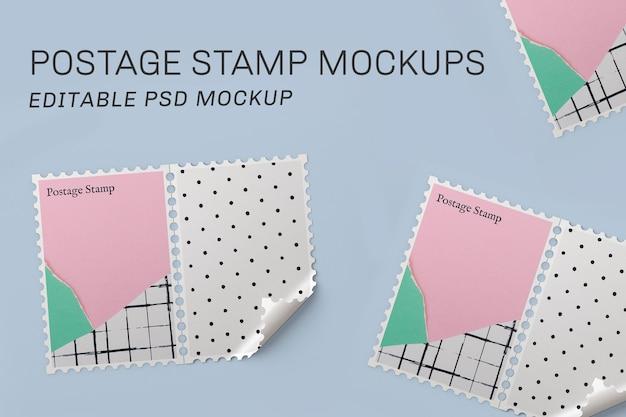 Makieta znaczka pocztowego psd z uroczym pastelowym zgranym papierem
