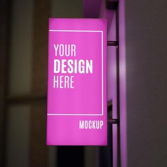 Makieta znak różowy noc biznes
