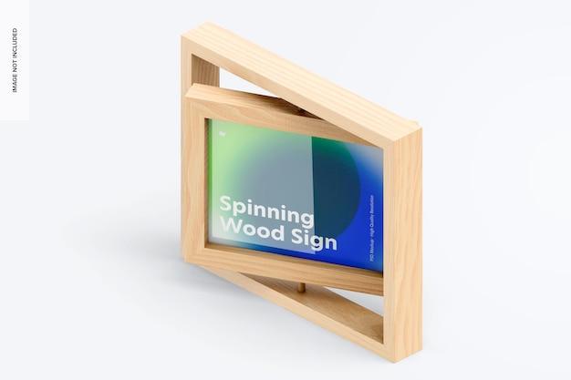Makieta znak wirującej drewnianej ramki, izometryczny widok z lewej strony