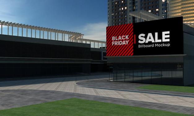 Makieta znaku billboardu na budynku z banerem sprzedaży w czarny piątek