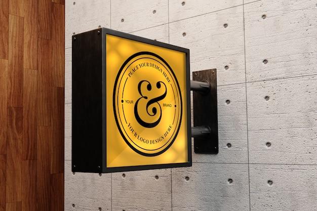 Makieta znaku logo na budynku zewnętrznym
