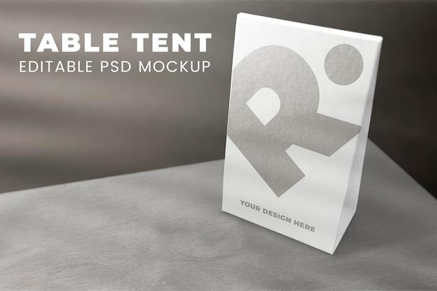 Makieta znaku namiotu stołowego psd do kawiarni i restauracji