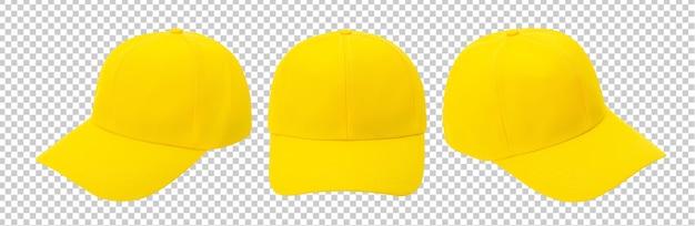 Makieta żółtej czapki z daszkiem na białym tle