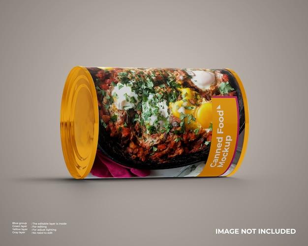 Makieta żywności w puszkach w pozycji poziomej
