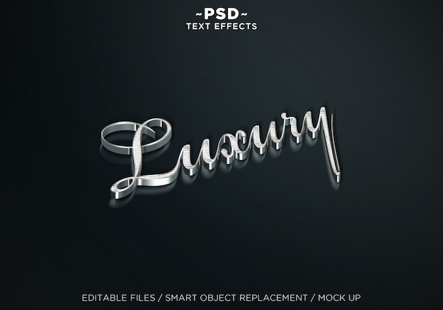 Makiety 3d luksusowe srebrne edytowalne efekty tekstowe